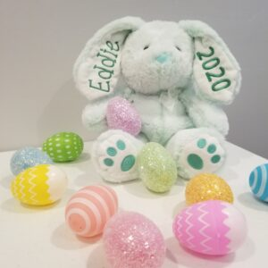 BUNNY EMBROIDERED EARS & PAWS ( GREEN ) SIZE (R)