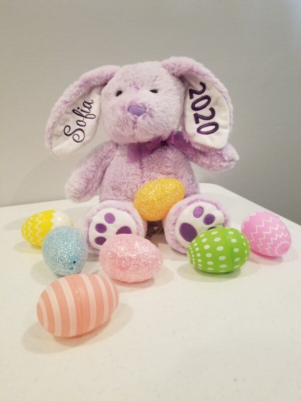 BUNNY EMBROIDERED EARS & PAWS ( PURPLE ) SIZE (R)